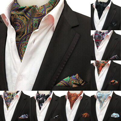 Men's Cravat Tie Set Handkerchief 100% Silk Paisley Ascot Necktie Sets For Party