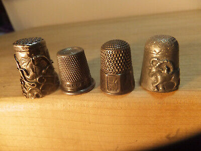 4 VINTAGE  THIMBLE,S  3  Sterling  1 pewter Aries signe - 1 Anchor & lion mark