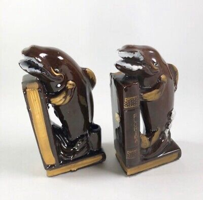 """Mid-Century Whale Bookends 