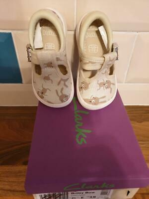 Clarks Briley Bow Girls Cotton Combi Shoe size 3.5E euro 19, Brand new boxed