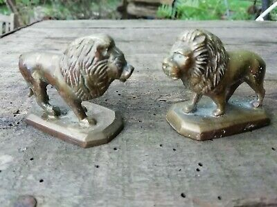 Pair of Antique Late Victorian Miniature Brass Lions On Plinths Circa 1900