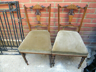 Pair of inlaid marquetry small salon edwardian chairs