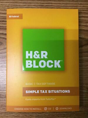 H/&R Block Basic Tax Software Simple Tax Situations 2017 Brand New SEALED