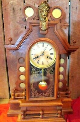 Antique wood Mantel Clock brass face bust unique rare wind up no key