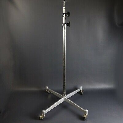 Heavy Duty Photogenic Studio Light Stand Cast Iron Base Chrome Shaft w/ Casters