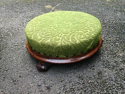 Antique Small Round Upholstered Solid Wood Footstool