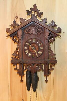Antique GK Bahnhausle Railroad Cuckoo Clock ~ Oak Case