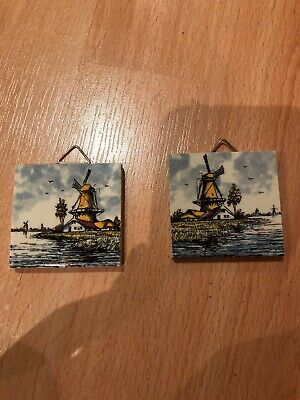 Antique Vintage Delft Tile Depicting A Windmill X2 Miniature
