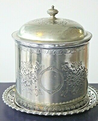 Antique victorian silver plated footed biscuit barrel circa 1890's