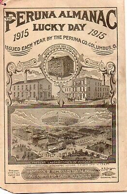 Peruna Almanac Lucky Day, 1915. Issued by the Peruna Co., Columbus, OH