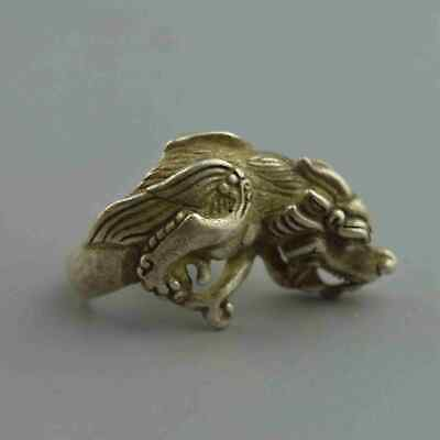 China Collectable Handwork Decor Old Miao Silver Carve Dragon Head Usable Ring