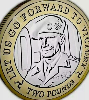 Isle Of Man Coin 2£ Pounds 2019 D Day Victory Montgomery New UNC from Bag Manx
