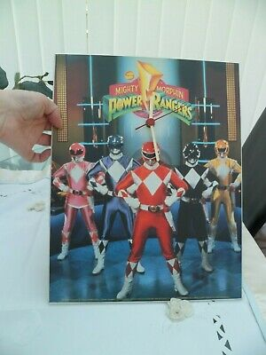 mighty morphin Power Rangers large wooden Wall Clock 1994 WORKING RARE VINTAGE