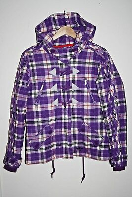 f4n Authentic Adidas Woman's Girls Warm Checked Purple Jacket Hooded Size 12