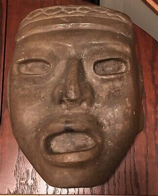 Rare Ancient Pre-Columbian MesoAmerican Olemic Teo Carved Stone Mask Mayan Inca