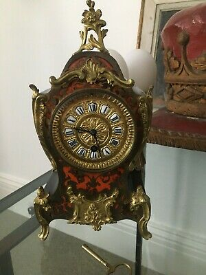 Antique Red Boulle Work, French Mantel Timepiece Enamelled Roman Numerals