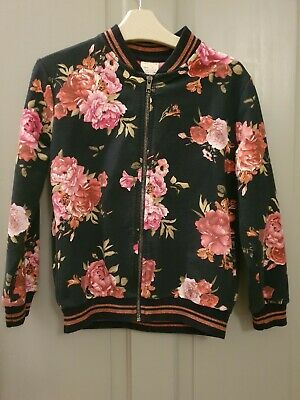 Zara girls Aged 8 Black Floral Ted Bomber jacket Baker Pink rose
