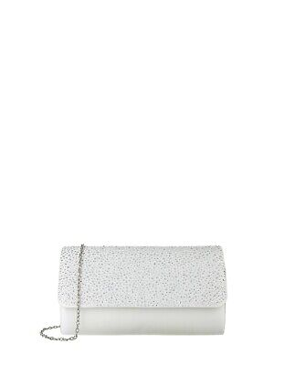 Monsoon Ivory Wedding Evening Suri Sparkle Clutch Bag With Silver Chain Strap