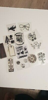 Assortment of clear stamps with stamp storage pocket used