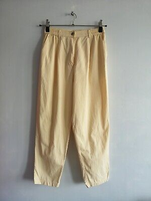 St Michael Vintage Pale Yellow High Waisted Cropped Summer Trousers Size 14