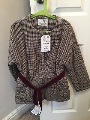 Zara Girls Checked Quilted Jacket Age 10 RRP£34.99