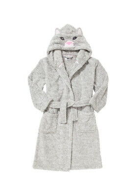 Girls Dressing Gown With Cat Faced Hood Supersoft Grey Marl Thick Fleece