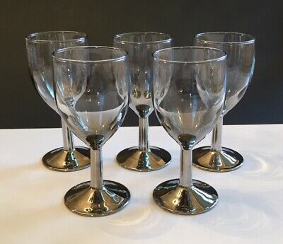 5 MidCentury Silver Fade Small Wine Glasses Goblets Dorothy Thorpe Ombre Style