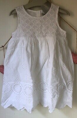Next Girls Gorgeous White Cotton Lined Broiderie Dress💐2-3Yrs - BNWT