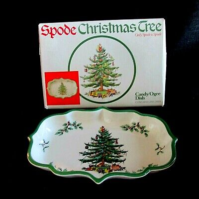 "Spode Christmas Tree Pattern 9 1/4"" x 6 1/4"" Ogee Candy Dish In Original Box"