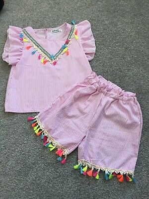 Cute Girls Ruffle Top And Shorts Set Age 10 Outfit Set