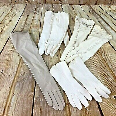 Vtg Lot of 4 pairs Women's Gloves evening dress dressy leather cotton pearls