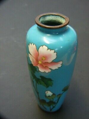 Original  Antique Japanese Cloisonne Small Vase Blue  Floral Design Vintage