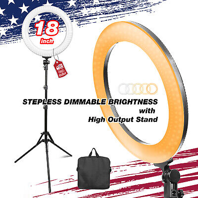 "LED Lighting Kit with 18"" Ring Light, Stand , Carry Bag for Photo Video Studio"