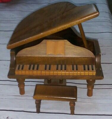 Antique miniature Piano With Stool Wooden Like Salesman Sample