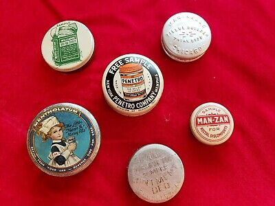 6 Antique Vintage Medicine Advertising Tins Mentholatum, & Ointments