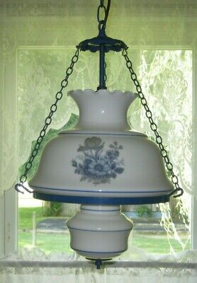Vintage Gone With The Wind Style Swag Lamp Light Fixture Chandelier Blue Floral