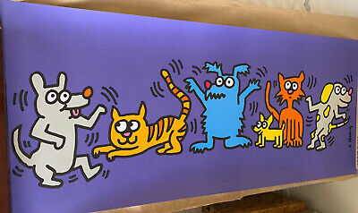 Keith Haring Humane Society Dancing Dogs & Cats Offset Printed Litho France 1994