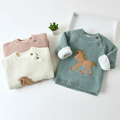 IENENS Toddler Kids Boys Fashion Tops Clothes Infant Winter Horse Print Sweater