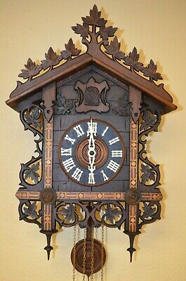 ANTIQUE GERMAN BLACK FOREST TRAIN STYLE CUCKOO CLOCK with INLAY EARLY 1900'S