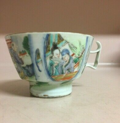"""Antique Chinese famille rose porcelain cup 2.5"""" X 5.25""""  D 4.5"""""""""""