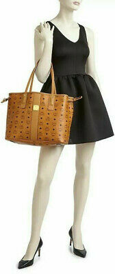MCM Liz Medium Cognac Reversible Tote Shopper with pouch / tote bag NEW