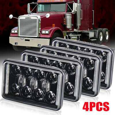 "4x 4""x6"" DOT CREE LED Headlights for Peterbilt Chevy Freightinger Chevrolet"
