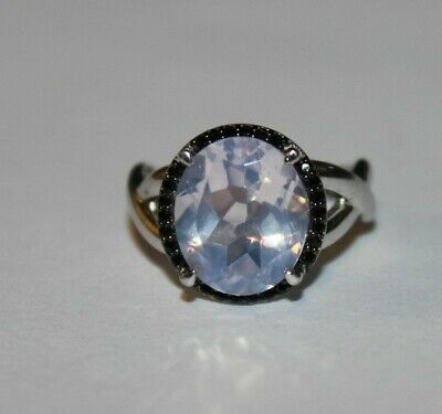 Beautiful Sterling Silver 925 Large White & Black colored Stones Ring Size 6