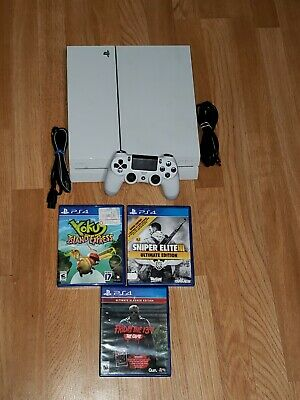Sony Playstation 4 PS4 Glacier White 500GB Gaming Console CUH-1115A Complete