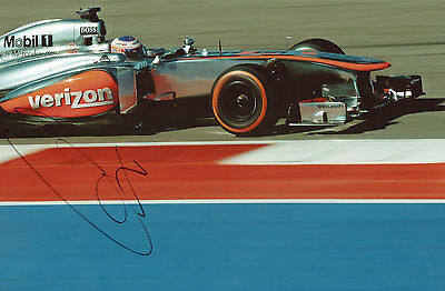 JENSON BUTTON Signed 12x8 Photo FORMULA 1 Champion COA