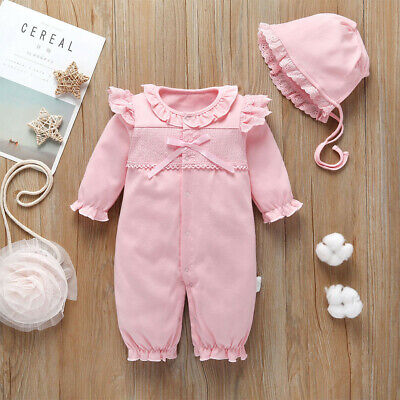 Infant Baby Girls Long Sleeve Solid Lace Ruffles Romper Jumpsuit+Hat Outfits Set