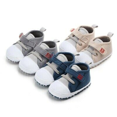Newborn Baby Cute Boys Girls Canvas Kids Letter First Walkers Soft Sole Shoes