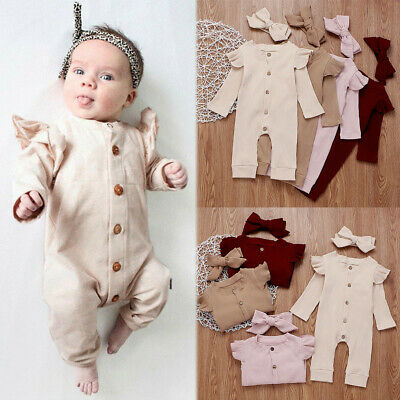 Newborn Infant Baby Boys Girls Solid Romper Jumpsuit+Headband Kids Outfits Sets