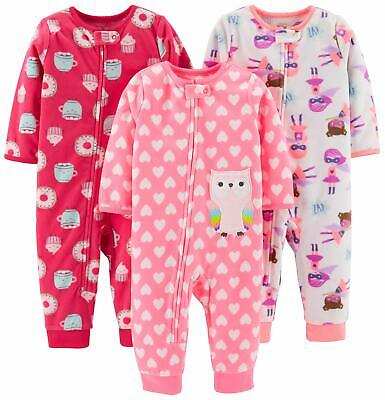 Carter's Baby & Toddler Girls' 3-Pack Loose Fit Winter Fleece Footless Pajamas