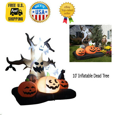 10' Halloween Decorations Outdoor Inflatable Dead Tree with Ghost and Pumpkins
